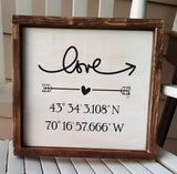 LOVE GPS Coordinates framed wood sign