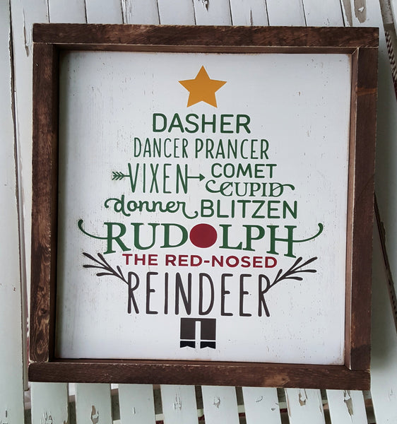 Reindeer Names Tree framed wood sign