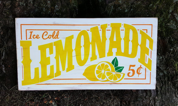 Ice Cold Lemonade wood sign