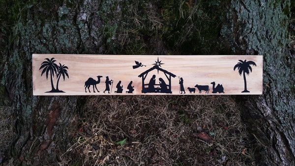 Rustic Nativity sign
