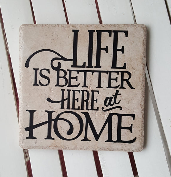 "6"" x 6"" Life Is Better Here At Home ceramic tile"