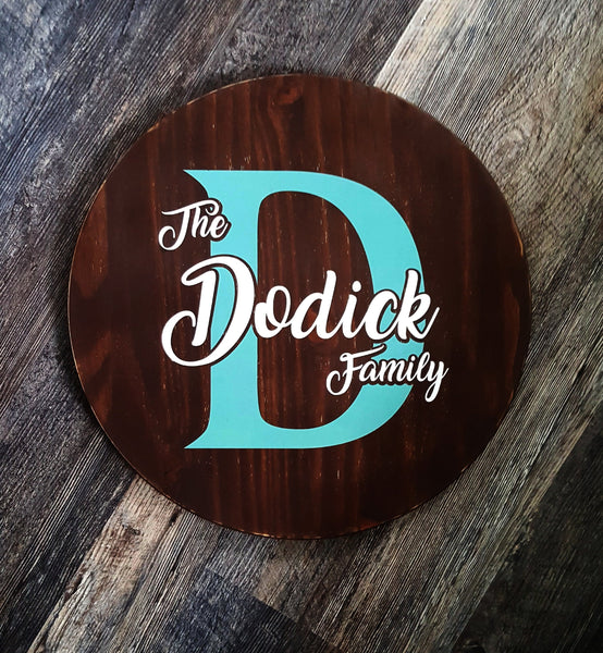 "17"" Round Family Last Name and Initial wood sign"