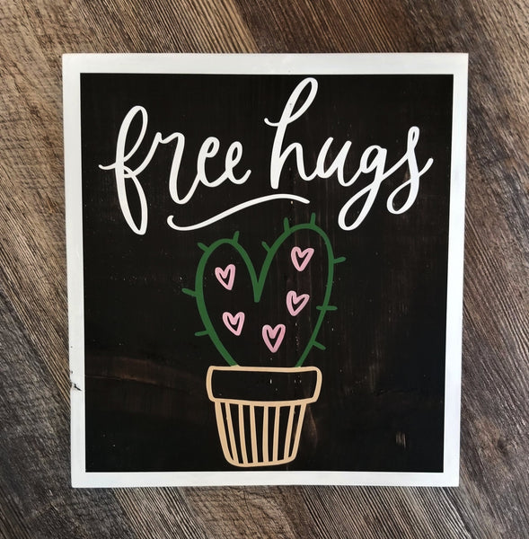 Free Hugs Cactus wood sign