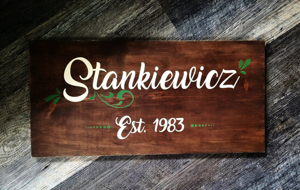 Family Name with Flourish and Date wood sign