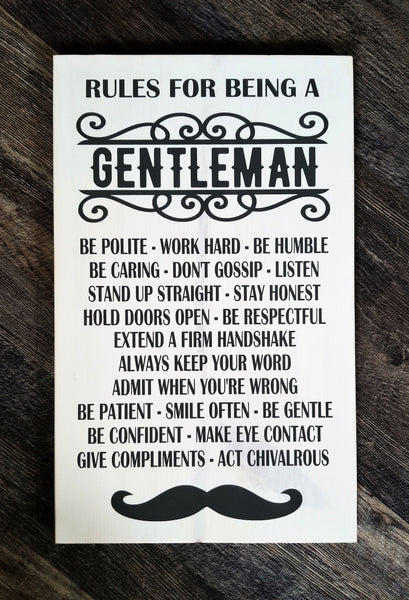 Rules For Being A Gentleman wood sign with optional frame