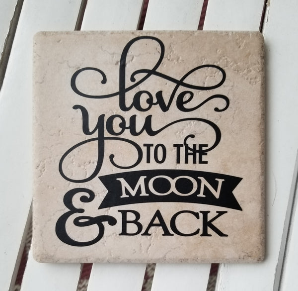 "6"" x 6"" Love You To The Moon And Back ceramic tile"