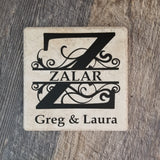 "6"" x 6"" Split Letter Last Name Initial With First Names and Established Date ceramic tile"