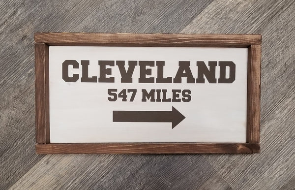 City Mileage Distance Arrow wood sign