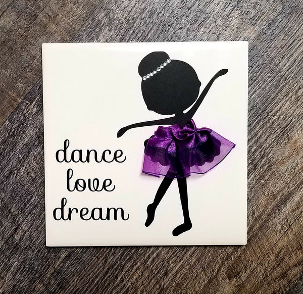 "6"" x 6"" Ballerina Tile Dance Love Dream with Purple Tutu"