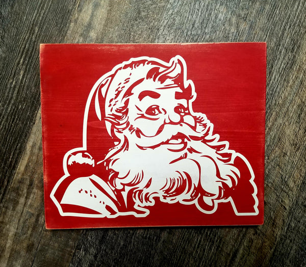 Vintage Retro Santa wood sign