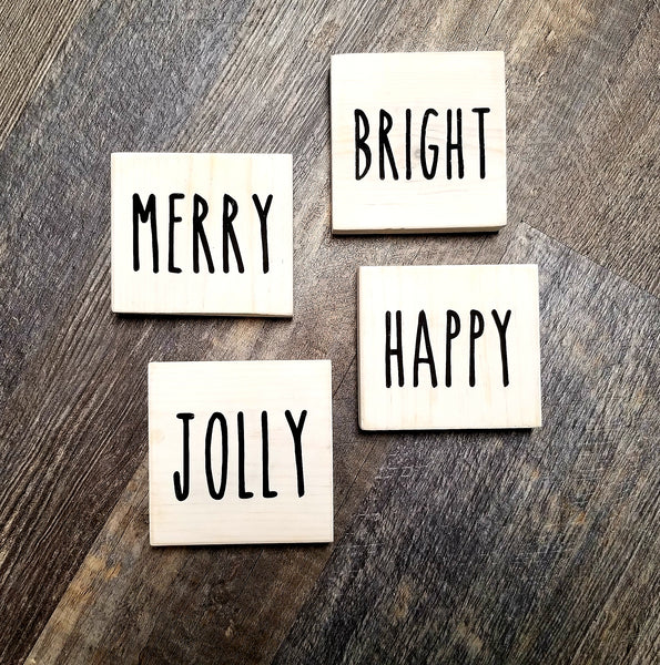 Merry - Bright - Jolly - Happy 4 piece block set Christmas