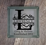 Lighted Glass Block - Split Flourish Initial With Names and Date