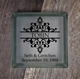 Lighted Glass Block - Split Damask Flourish With Names and Date