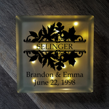 Lighted Glass Block - Split Damask Autumn Leaves With Names and Date