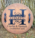 "17"" Round Split Initial with Name and Established Date wood sign"