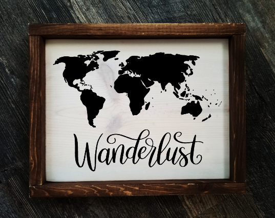 Wanderlust framed wood sign
