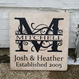 "6"" x 6"" Split Letter Name and Established Date ceramic tile"
