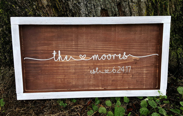 Names With Hearts and Established Date wood sign