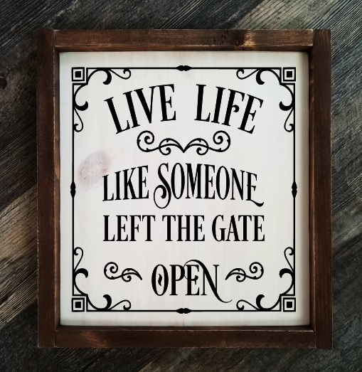 Live Life Like Someone Left The Gate Open framed wood sign