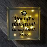 Lighted Glass Block Pet Memorial - You Left A Pawprint On My Heart