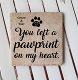"6"" x 6"" You Left A Pawprint On My Heart pet memorial ceramic tile"