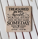 "6"" x 6"" Treasured In My Heart You'll Stay Until We Meet Again Someday ceramic tile"