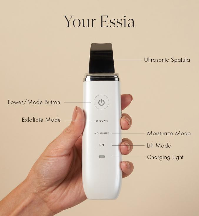 Ultrasonic Spatula. Power / Mode Button. Exfoliate Mode. Moisturize Mode. Lift Mode. Charging Light.