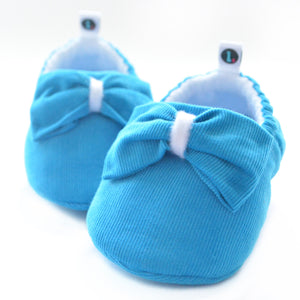 Bright Turquoise Big Bow Theory baby shoes