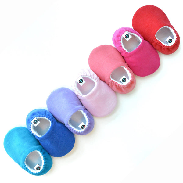 Rainbow lineup of Loafie Brights baby shoes