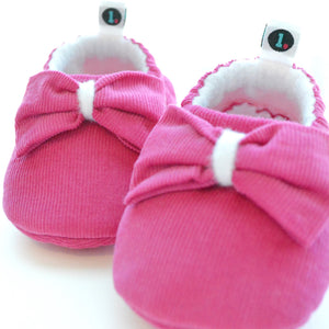 Electric Pink Big Bow Theory baby slippers