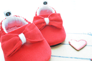 Really Red Big Bow Theory baby shoes