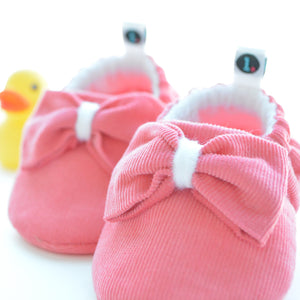 Bright Coral Big Bow Theory Baby Shoes