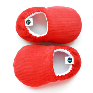 Really Red Loafie Brights baby slippers