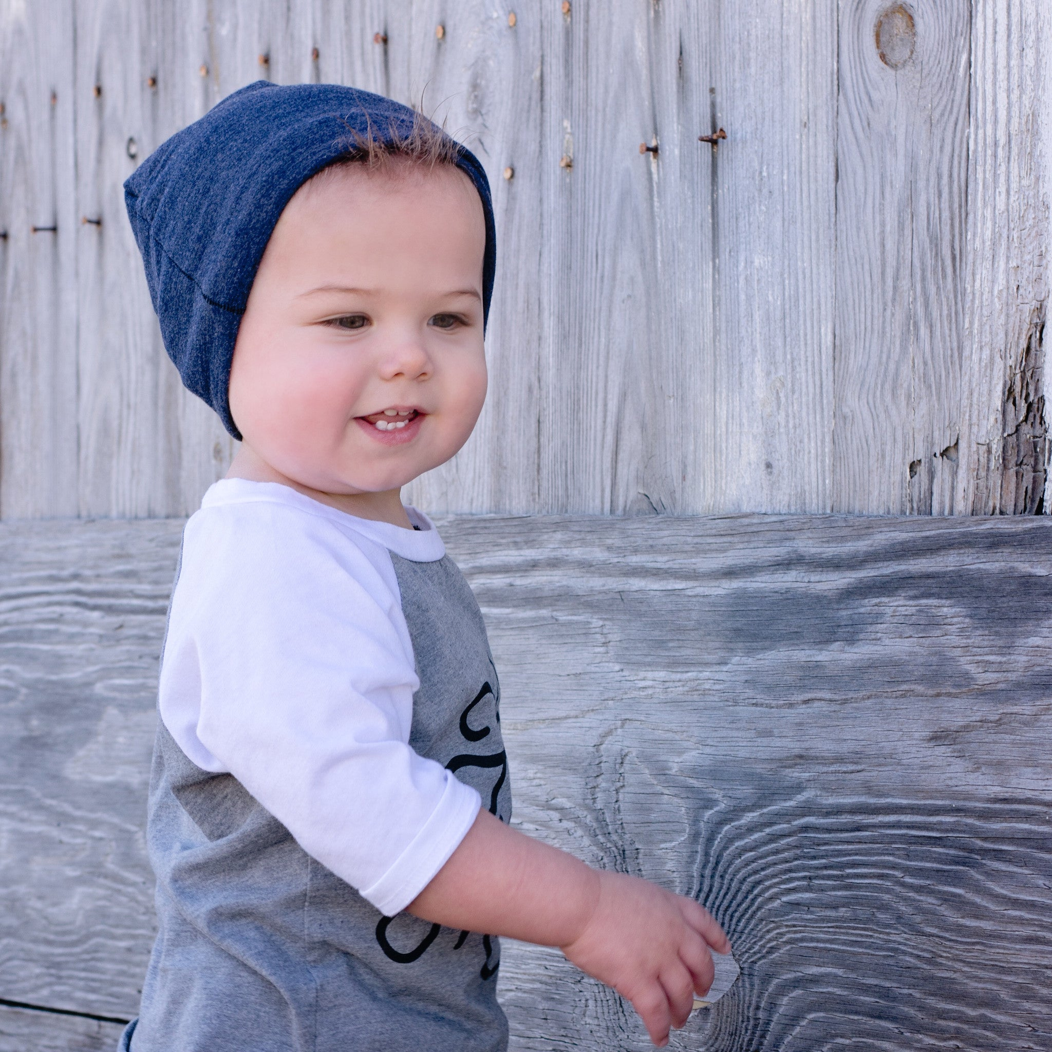 ... Toddler Boy wearing Blue Slouchy Beanie Baby Hat ... 094fc3145f4