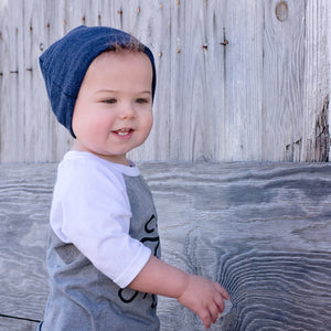 Toddler Boy wearing Blue Slouchy Beanie Baby Hat