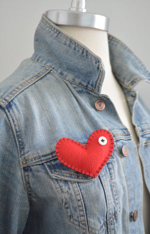 Felt Heart Lapel Pin