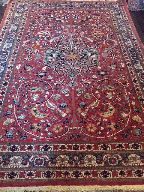 1890 - 1910 Rare Wool & Part Silk Tehran Carpet 3.10 x 2.20