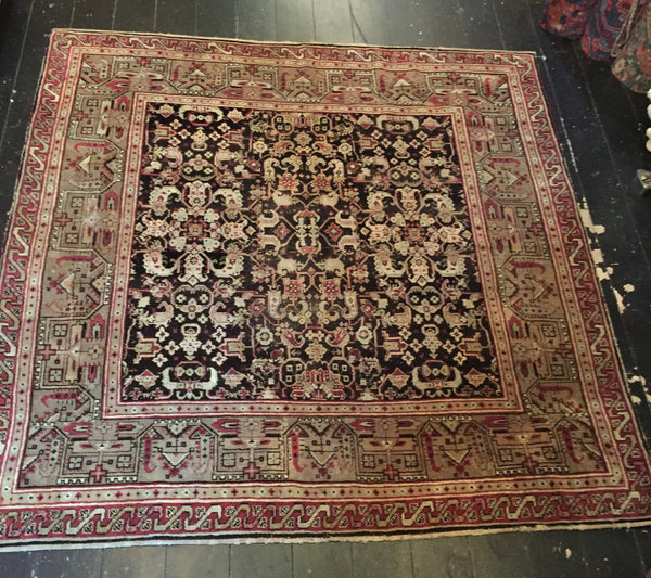 19th C Rare Square Agra 1.90X1.90