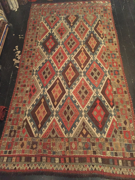 Early 1900's Anatolian Kilim 3.52 x 1.82