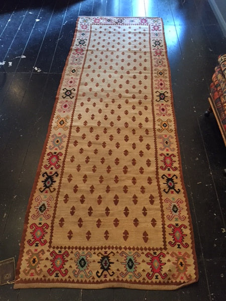 Early 1900s  Sarkoy Kilim Runner 2.75X0.95