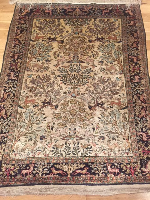 "1950s Pure Silk Persian ""Qum"" 1.60X1.20"