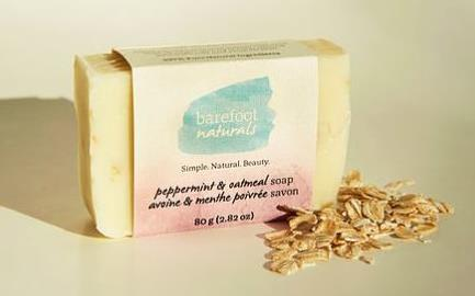 Barefoot Naturals Peppermint and Oatmeal Bar Soap