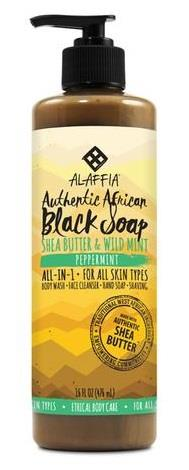 Alaffia's Authentic African Black Soap Peppermint Scented - 476 mL