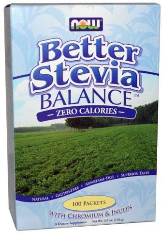 NOW BetterStevia Balance with Chromium & Inulin 100 Packets