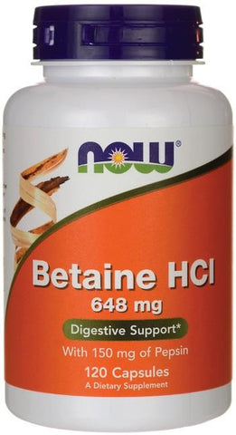 NOW Betaine HCL 648mg 120 Caps