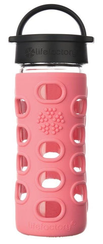 12 oz Glass Bottle with Straw Cap and Silicone Sleeve (coral)