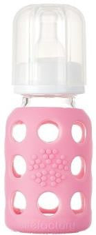 4 oz Glass Baby Bottle with Silicone Sleeve (pink)