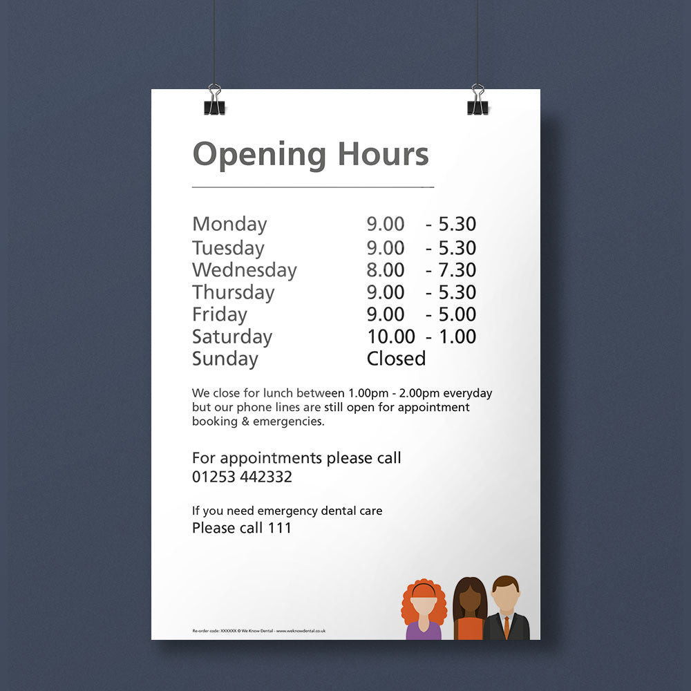 Opening hours notice weknow dental for V bathroom opening hours
