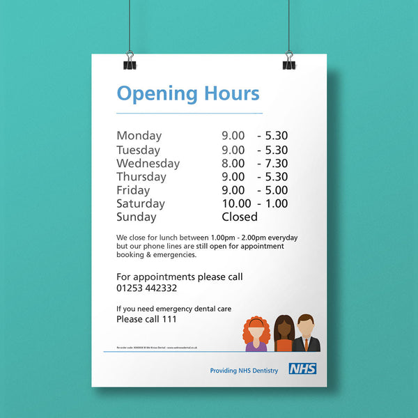 Opening Hours Notice - NHS