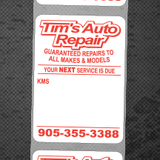 "Oil Change Roll Stickers Standard 1.5"" x 2.125"""